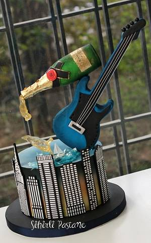 Champagne and Electric Guitar Cake - Cake by Sihirli Pastane