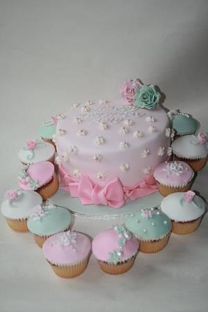 Pastel Pink & Green Birthday Cake & Matching Cupcakes  - Cake by Jodie Taylor