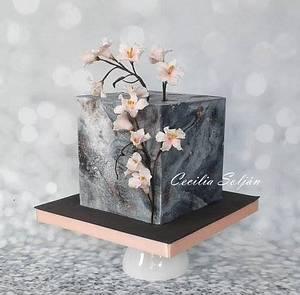 Torta cuadrada Cerezos - Cake by Cecilia Solján