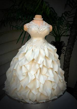 White Wedding Dress Cake ~ Brides dress cake - Cake by Lea's Sugar Flowers