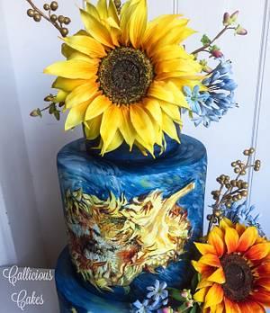 Van Gogh Sunflowers Wedding Cake - Cake by Calli Creations