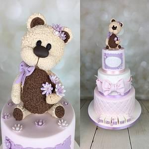 Teddy bear Christening cake for Amber x - Cake by Melanie Jane Wright