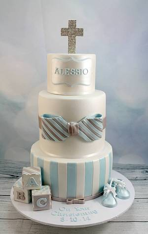 Blue and white christening cake - Cake by Kake Krumbs