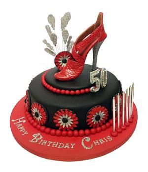 Red & Black Designer Shoe Cake - Cake by Designerart Cakes