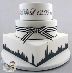 New York Themed Black & White Wedding Cake - Cake by Natasha Shomali