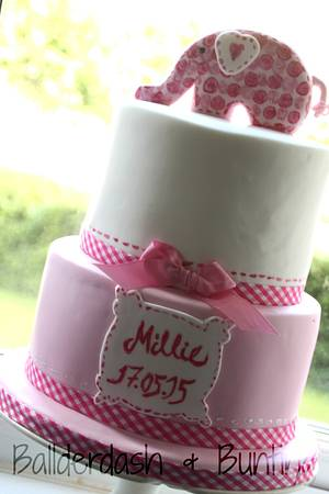 Pink elephant Christening cake - Cake by Ballderdash & Bunting