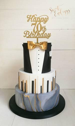 70th Birthday cake for a gentlemen - Cake by Lulu Goh