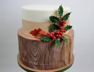 wooden cake with ilex decoration - Cake by Brigittes Tortendesign