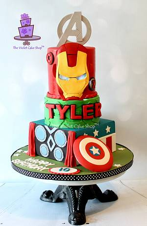 AVENGERS Cake with Light Up IRON MAN Eyes - Cake by Violet - The Violet Cake Shop™
