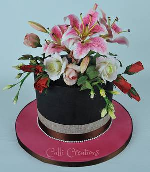 Floral 40th Cake  - Cake by Calli Creations