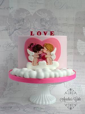 Baby angels in love - Valentine's Day - Cake by Aurelia's Cake