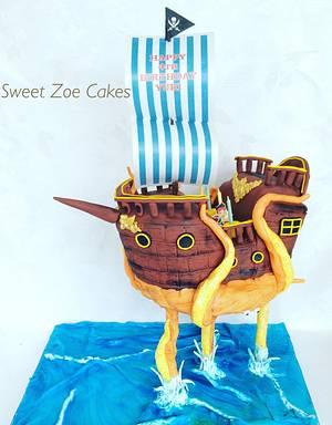 Gravity Pirate Ship Cake - Cake by Dimitra Mylona - Sweet Zoe Cakes