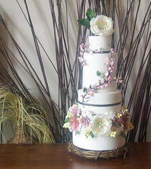 Twigs and Flowers Wedding Cake - Cake by Bakedincakedout