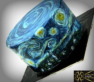 Starry Night Cake - Hand painted - Cake by Cake! By Jennifer Riley