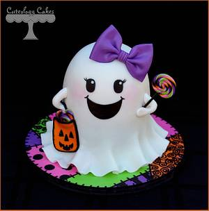Girly Ghost Cake  - Cake by Cuteology Cakes