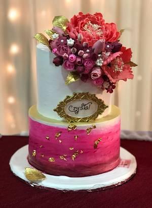 Burgundy love  - Cake by Michelle's Sweet Temptation