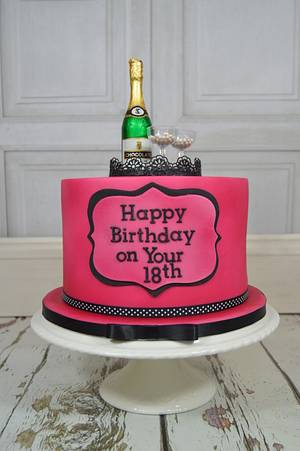 Champagne 18th Birthday Cake..x - Cake by Lulu Belles Cupcake Creations
