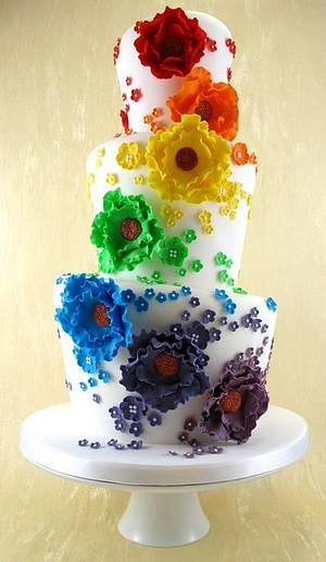 Rainbow Wonky Wedding Cake - Cake by Natasha Shomali