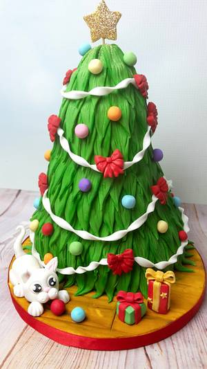 Christmas Tree Cat-astrophe  - Cake by JojosCupcakeMadness