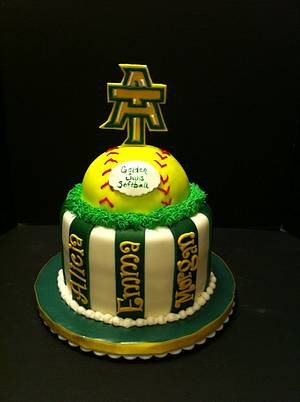 Arkansas tech softball cake - Cake by Woodcakes