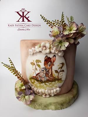 Handpainted Bambi - Cake by Fatiha Kadi