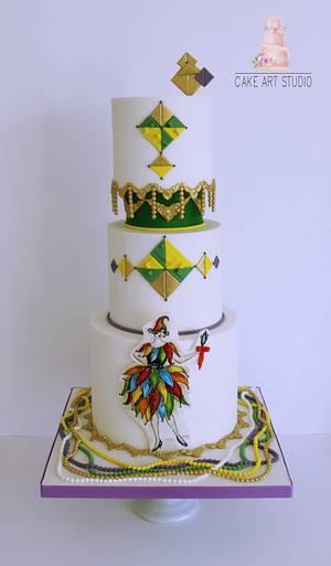 Mardi  Gras- Carnival Cakers Collaboration  - Cake by Cake Art Studio