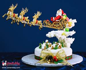 Santa's in Town Christmas Cake - Cake by Serdar Yener | Yeners Way - Cake Art Tutorials