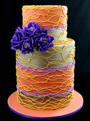 spiral piping cake with purple roses - Cake by InspiredbyMichelle