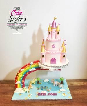 unicorn castle gravity cake - Cake by little cake sisters