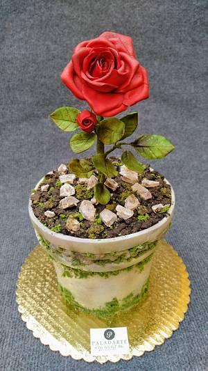 Flower pot cake - Cake by Paladarte El Salvador