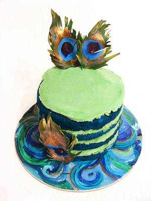 Blue Naked Cake with Feathers - Cake by Josie Durney