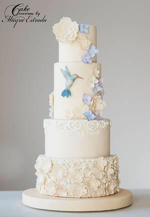 Hummingbird & Flowers Wedding Cake - Cake by Cake Creations by ME - Mayra Estrada