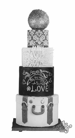 Five shades of grey - Cake by Sugar cottage by pooja
