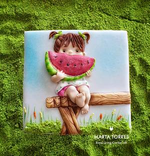 Watermelon girl.... Learning social distance - Cake by The Cookie Lab  by Marta Torres