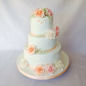 Pastel roses wedding cake - Cake by Layla A