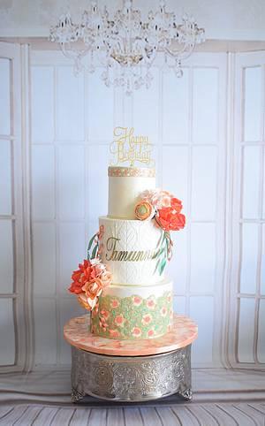 Coral hues - Cake by Indulgence by Shazneen Ali