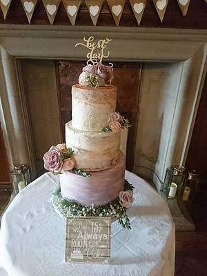 Ombre watercolour buttercream - Cake by Rosewood Cakes