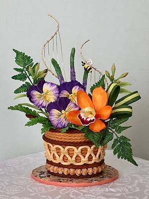 Pansies and orchid - Cake by Patricia M