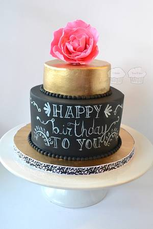 Gold and Chalkboard - Cake by Susan