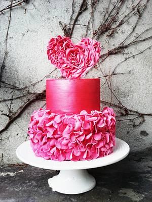 Ruffle Heart St. Valentine's Day inspired wedding cake - Cake by TheArtofCake