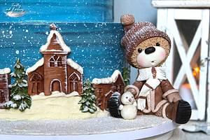 Teddy bears and Christmas - Cake by Lorna