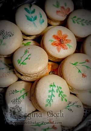 Hand Painted Macarons - Moka Forte - Cake by Regina Coeli Baker