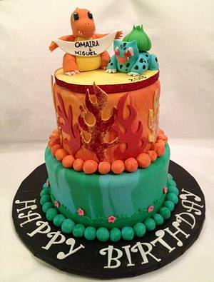 Pokeman, Bulbasaur and Charmander Birthday cake - Cake by Caroline Diaz