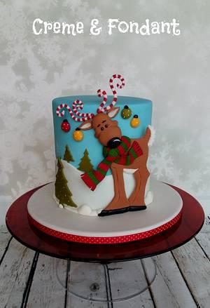 Reindeer  Christmas Cake - Cake by Creme & Fondant