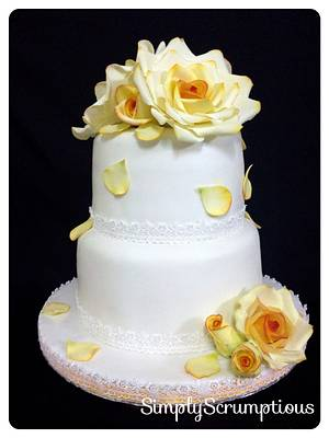 Shades of Yellow Roses Wedding Cake - Cake by SimplyScrumptious