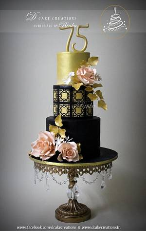 Black & Gold 75th Birthday Cake - Cake by D Cake Creations®