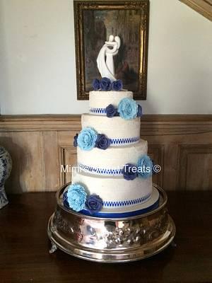 'Something Blue' Wedding Cake - Cake by Mimi's Sweet Treats