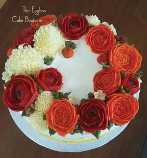 Floral fresh cream Wedding anniversay cake  - Cake by Payal Jain