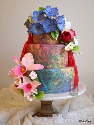 'World Cancer Day Sugarflowers and Cakes in Bloom' collaboration - Cake by Sweet Dreams by Heba