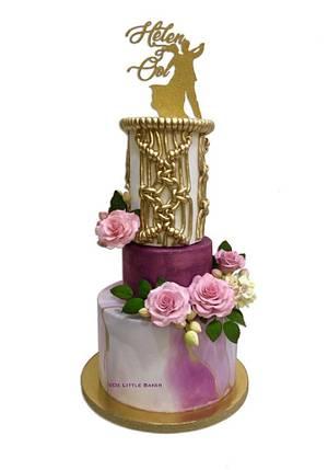 Purple Theme Wedding Cake - Cake by De Little Baker
